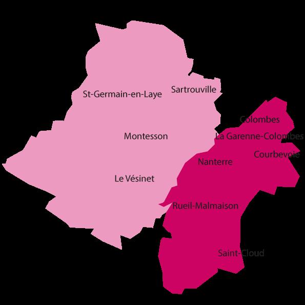 Cartographie territoire du centre hospitalier Théophile Roussel Montesson pour les enfants