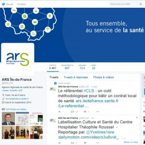 Twitter de l'ARS Île de France – 9 mars 2016