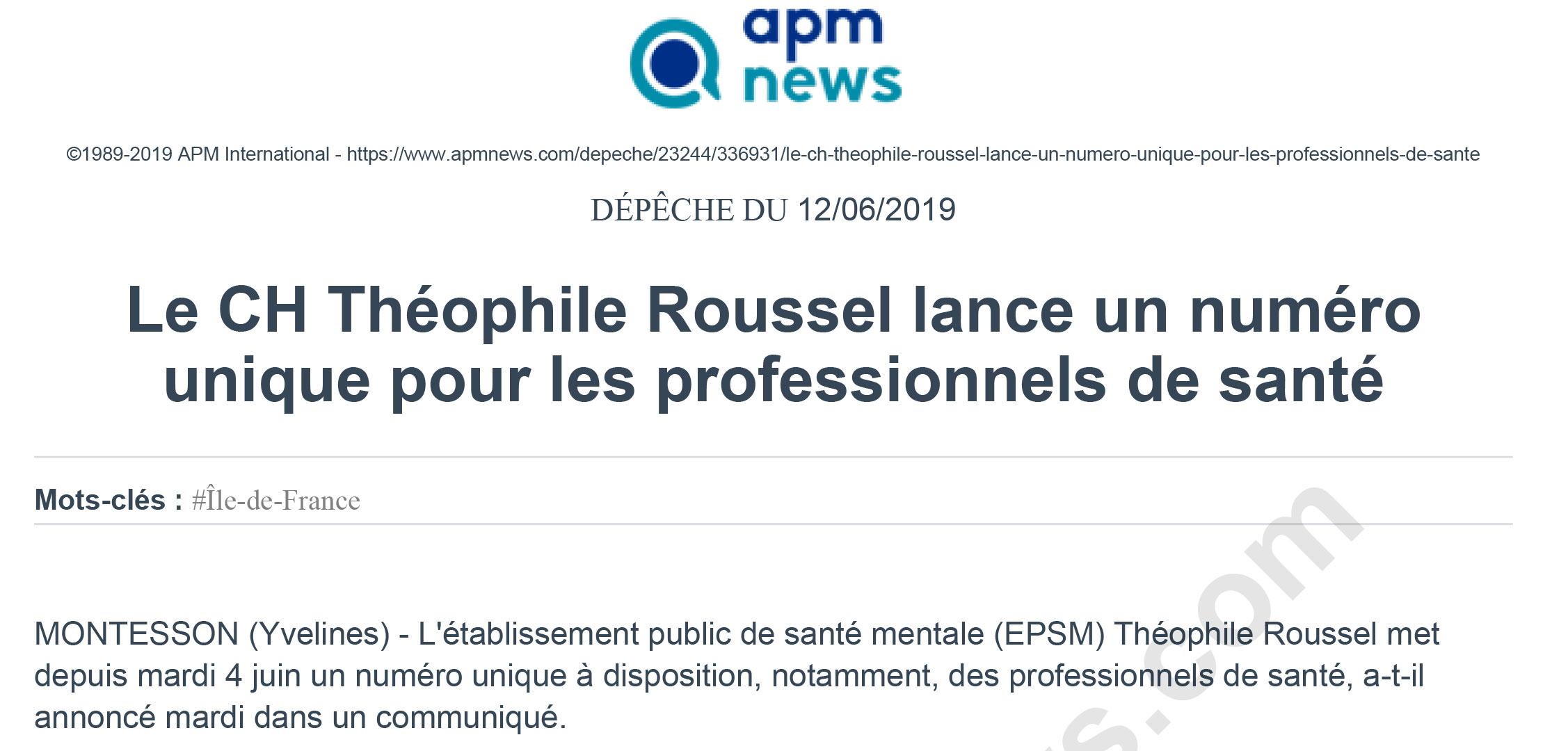 Le CH Théophile Roussel lance un numéro unique pour les professionnels de santé